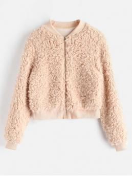 Winter Solid Stand-Up Full Regular Wide-waisted Fashion Fur Fuzzy Faux Fur Bomber Jacket