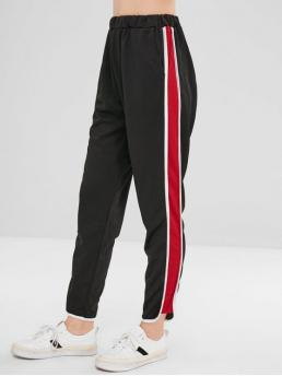 Fall and Spring Elastic Straight Striped Pockets Regular High Casual Side Stripe Pants
