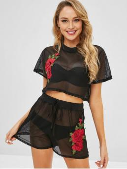 Fall and Spring and Summer Floral Pleated Elastic High Short Round Regular Cute Casual and Daily and Going Floral Applique Mesh Top Shorts Matching Two Piece Set
