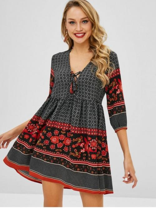 No Spring and Summer Floral Lace 3/4 Plunging Mini A-Line Beach and Vacation Bohemian Floral Lace-up Plunge Dress