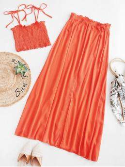 Summer Slit Solid Flat Elastic High Sleeveless Spaghetti A Casual Casual Smocked Cami Top and Slit Skirt Set