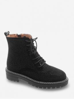 Fashion Synthetic Rhinestone Zip Others Chunky Round Ankle Fall and Spring Fashion For Shiny Full Rhinestone Chunky Heel Ankle Boots