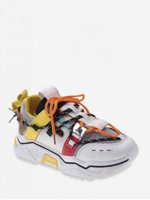 Breathable Spring/Fall Mesh Patchwork Lace-Up For Mix Material Breathable Running Sneakers