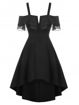 Trending now Black Solid Notched Short Sleeves V-wire Flounce High Low Chiffon Dress