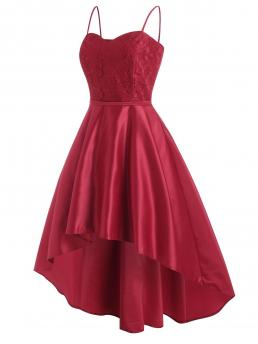Discount Red Solid Spaghetti Strap Sleeveless Flower Midi Party Dress
