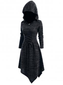 Women's Black Others Hooded Long Sleeves Lace up Heathered Asymmetric Dress