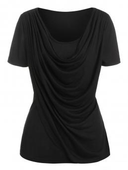 Short Sleeve Polyester,rayon Solid Black Heathered Overlap t Shirt Pretty