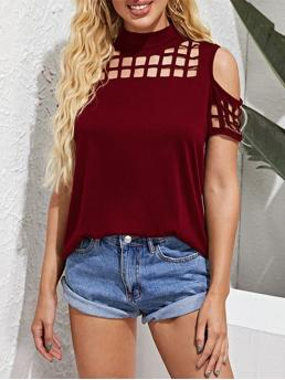 Trending now Short Sleeve Cotton,polyester Solid Deep Red Overlap Open Back Laser Cutout Top