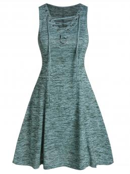Medium Turquoise Others V-neck Sleeveless Space Dye Fit and Flare Dress Ladies