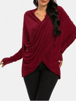 Sale Full Sleeve Polyester Solid Color Deep Red Cowl Front Crossover Sleeve Tee
