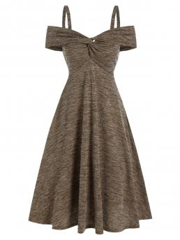 Clearance Dark Khaki Others off the Shoulder Short Sleeves Cold Shoulder Twist Front Heathered Ribbed Dress