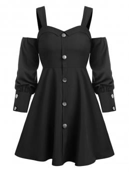 Black Others Sweetheart Neck Long Sleeves Cold Shoulder through Flare Dress Trending now