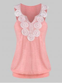 Polyester,rayon Patchwork Pink Rose Casual Crochet Trim Blouson Tank Top Trending now