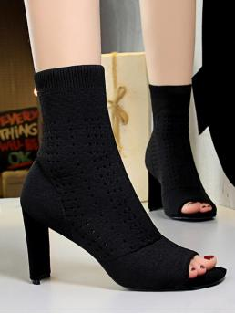 Cheap Black 8cm Stretch Fabric Solid Color Knit High Heel Boots