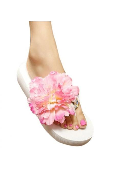 Pink 3cm Satin Floral Flower and Design Women's Slippers on Sale