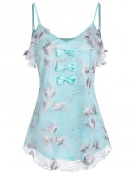 Polyester Floral Celeste Fashion Bowknot Detail Flower Embroidered Mesh Cami Top Shopping