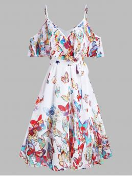 Womens White Butterfly Spaghetti Strap Short Sleeves Butterflies Print Knotted Cold Shoulder Dress