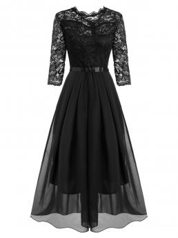 Black Solid Round Collar Polyester,polyurethane Pleated Detail Lace and Floor Length Dress Pretty