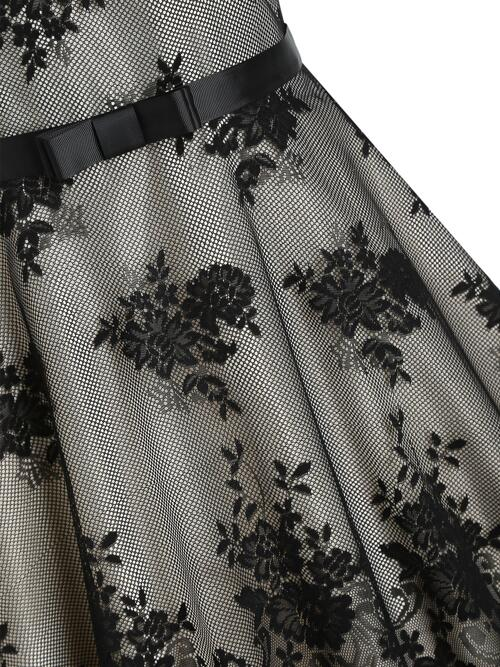 Black Colorblock Round Collar Sleeveless Flower Patterned Overlay Belted Dress Sale