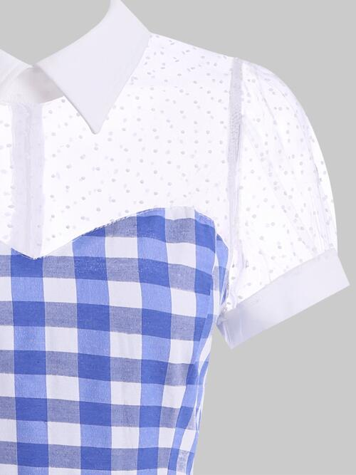 Discount Blue Checkered Turn-down Collar Short Sleeves Checked Mesh Panel Pin up Dress