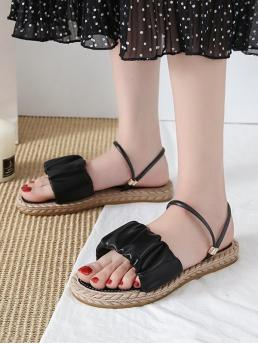 Pretty Black 3cm Pu Others Ruched Leather Convertible Strap Flat Sandals