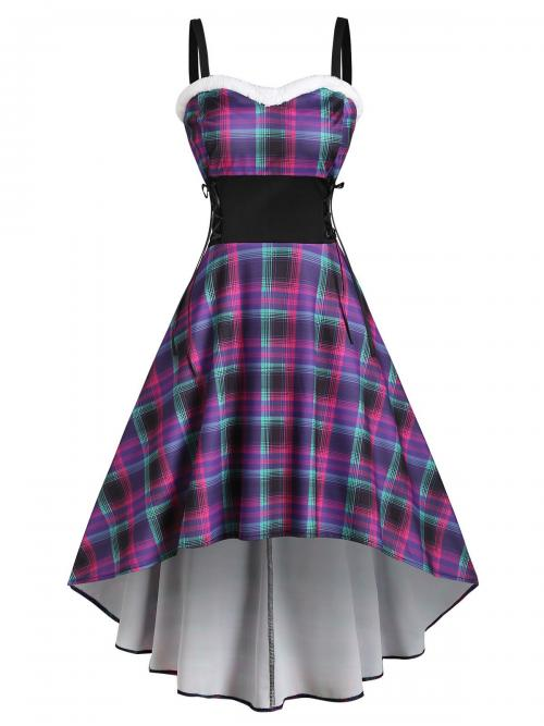 Affordable Purple Plaid Sweetheart Neck Sleeveless Faux Fur Insert Lace up Dress