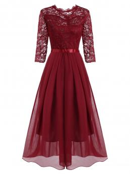 Trending now Red Solid Round Collar Polyester,polyurethane Pleated Detail Lace and Floor Length Dress