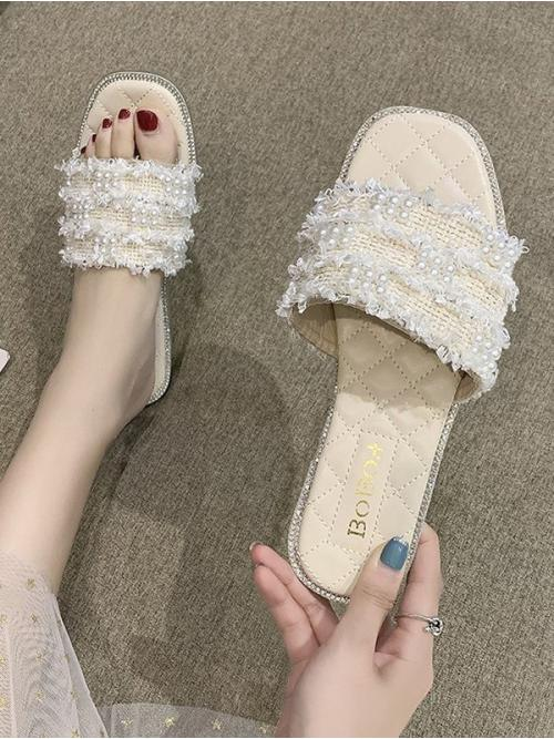 Fashion Cool White Cloth Others Rubber Faux Pearl Woven Flat Slippers