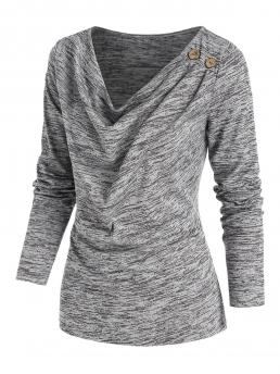 Discount Full Sleeve Polyester,rayon Others Ash Gray Space Dye Print Mock Button Dress