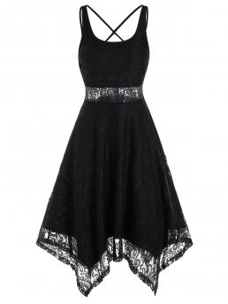 Discount Black Solid Scoop Neck Sleeveless Strappy Handkerchief Lace Dress
