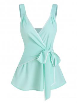 Pretty Polyester,polyurethane Others Aquamarine Casual Contrast Piping Knotted Wrap Tank Top