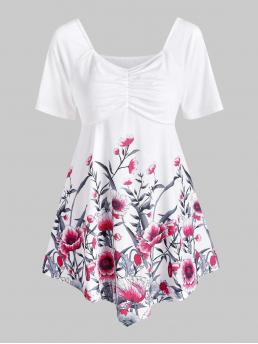 Shopping Short Sleeve Polyester,spandex Floral White Tunic Top