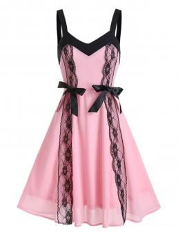 Shopping Pig Pink Floral V-neck Sleeveless Lace Colorblock a Line Dress