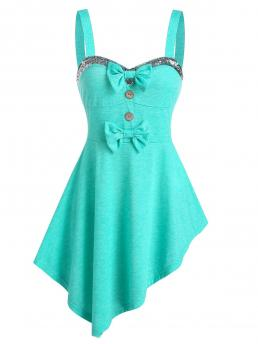Shopping Polyester,rayon Others Medium Turquoise Fashion Sequin Panel Bow Detail Asymmetric Tank Top