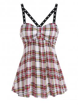 Rayon Plaid Milk White Fashion Grommet Embellished Flare Tank Top Clearance