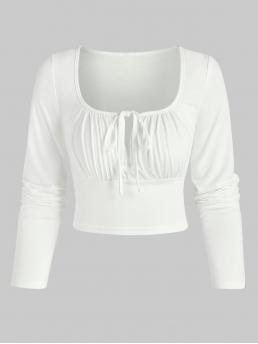 Full Sleeve Polyester,polyurethane,rayon Solid Color White Tie Knot Keyhole Cropped T-shirt Pretty