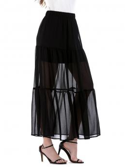 Pretty Black Solid Ankle-length Summer Lace Overlay High Waist Skirt
