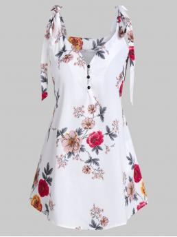 Polyester Floral Milk White Fashion Half Buttonknot Tank Top Beautiful