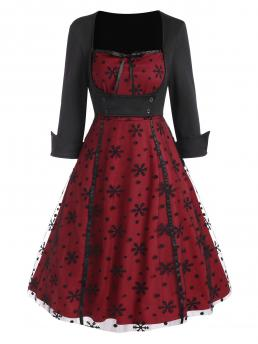 Deep Red Snowflake Sweetheart Neck Polyester Panel Vintage Flare Dress Beautiful