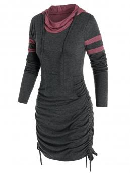 Beautiful Ash Gray Others Hooded Long Sleeves Front Pocket Heathered Cinched Dress
