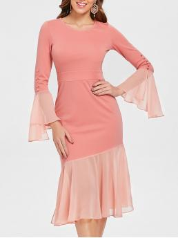 Beautiful Pink Solid Round Collar Flare Sleeve Bell Sleeve Flounced Dress