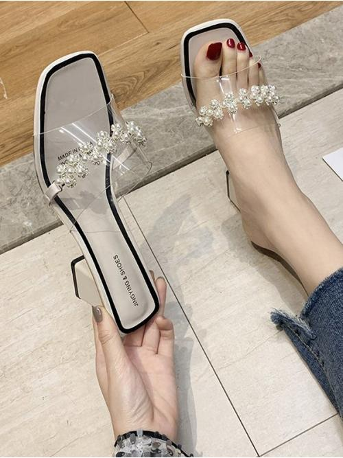 Cool White 6cm Pu Floral Faux Pearl Rhinestone Sandals on Sale