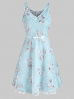 Shopping Light Blue Floral V-neck Sleeveless Lace Flower Embroidery Ribbon Belted a Line Dress