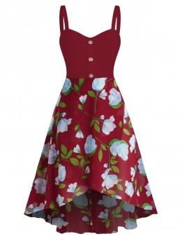 Ladies Red Wine Floral Sweetheart Neck Sleeveless Flower Print High Low Chiffon Dress