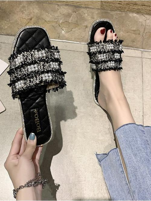 Fashion Black Cloth Others Rubber Faux Pearl Woven Flat Slippers