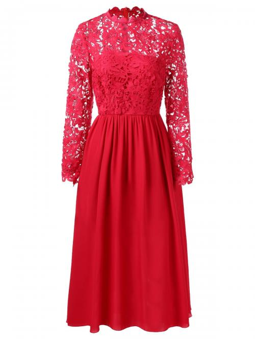 Red Solid Color Crew Neck Long Sleeves Lace Long Sleeve Wedding Dress Pretty