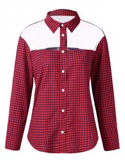 Full Sleeve Cotton,polyester Plaid Red See through Gingham Print Shirt Sale