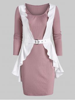 Womens Pink Others Scoop Neck Long Sleeves Ruffle Detail Ribbed Twofer Dress