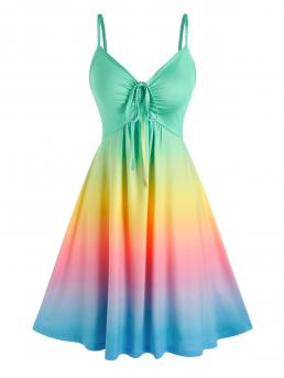 Clearance Multi Ombre Spaghetti Strap Sleeveless Cinched Rainbow Color Slip Dress