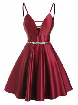 Deep Red Solid Spaghetti Strap Sleeveless Sequined Ladder Cut Plunge Party Dress Cheap